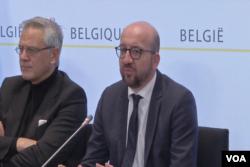 比利時首相米歇爾在發布會上宣布將防範恐怖襲擊戒備升至最高級別。(視頻截圖)