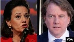 Kathleen McFarland dan Donald McGahn yang masing-masing akan menjabat sebagai Wakil Penasihat Keamanan Nasional dan Asisten Penasihat Hukum Gedung Putih.
