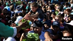 FILE - A farmer hands lettuce to a child during a protest against low salaries outside the Casa Rosada Presidential Palace in Buenos Aires, Argentina, Feb. 27, 2019.