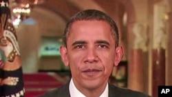 صدراوباما ہفتہ وار خطاب کرتے ہوئے