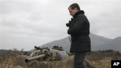 ປະທານາທິບໍດີຣັດເຊຍ ທ່ານ Dmitry Medvedev ໄປຢ້ຽມຢາມເກາະ ທີ່ມີການຂັດແຍ້ງ ກັບຍີ່ປຸ່ນ