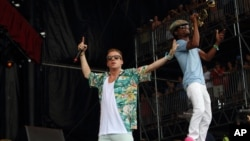 Macklemore & Ryan Lewis perform at the 2013 Bonnaroo Music and Arts Festival, June 16, 2013 in Manchester Tennessee.
