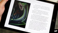 "FILE - Text and an illustration from ""Harry Potter and the Chamber of Secrets"" are displayed on an iPad, Sept. 30, 2015, in New York. U.S. Internet connection speeds have tripled over 3-1/2 years to keep up with consumer demands for streaming video and downloading content but the United States still lags many other countries."