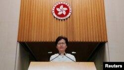 香港特首林鄭月娥在記者會上講話。 (2019年9月10日)