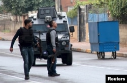 FILE - Turkish police special forces take part in a security operation in Diyarbakir, Turkey, October 26, 2015, where two Turkish policemen and seven Islamic State militants were killed after police raided more than a dozen houses in the region.