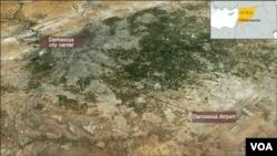 فرودگاه بین المللی دمشق در ۲۰ کیلومتری مرکز دمشق است.