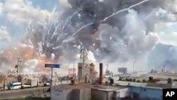 Imagen tomada del video que capó la explosión en el mercado de San Pablito.