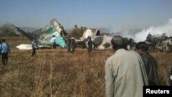 برما کی ریاست شان میں طیارے کے حادثے کے بعد کا منظر۔ 25 دسمبر 2012