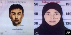 Images released Aug. 31, 2015, by National Council for Peace and Order shows sketch of unidentified man who police say was living in second apartment, which was raided by Thai authorities and a female suspect.