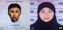 Ảnh truy nã một phụ nữ người Thái 26 tuổi và một người đàn ông ngoại quốc hôm 31/8/2015.