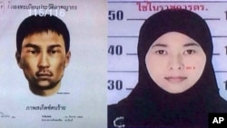 Two images release by the National Council for Peace and Order show a male suspect and Wanna Suansun, a women sought in connection with the Bangkok bombing.