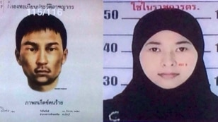 Images released Monday, Aug. 31, 2015, by the National Council for Peace and Order (NCPO) shows a sketch of an unidentified man who police say was living in the second apartment, which was raided by authorities in Min Buri, in Bangkok's outskirts, and whe