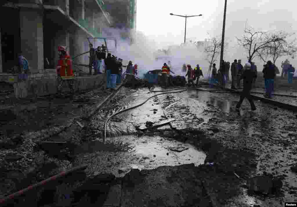 A view of a crater that was caused by an explosion in the downtown area of Beirut, Lebanon, Dec. 27, 2013.