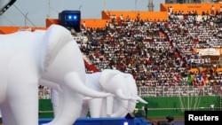 Cérémonie d'ouverture des Jeux de la Francophonie au stade Félix Houphouet-Boigny à Abidjan, Côte d'Ivoire, le 21 juillet 2017.