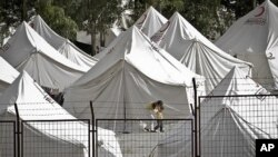 Camp for Syrian refugees on border with Turkey.