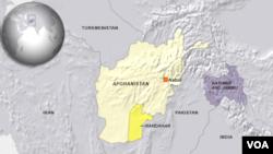 Peta wilayah Provinsi Kandahar, Afghanistan.