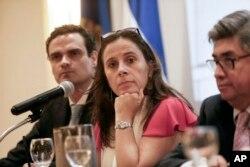 La relatora de la Comisión Interamericano de DD.HH. para Nicaragua, Antonia Urrejola, durante conferencia de prensa en Managua, Nicaragua, el lunes 21 de mayo, de 2018.