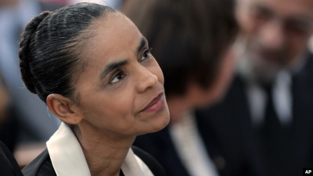 Brazilian Socialist Party (PSB) presidential candidate Marina Silva attends a Mass for late presidential candidate Eduardo Campos at the Metropolitan Cathedral in Brasilia, Brazil, Tuesday, Aug. 19, 2014.