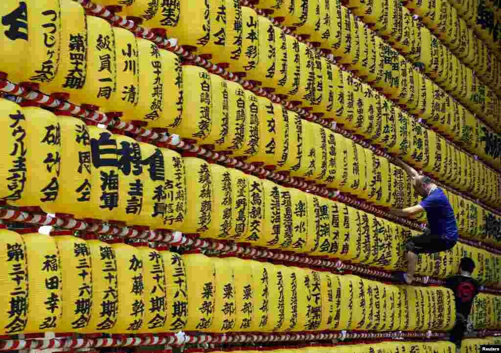 កម្មករឡើងរៀបចំគោមក្រដាសសំរាប់ពិធីបុណ្យMitama ដែលធ្វើឡើងប្រចាំឆ្នាំនៅទីសក្ការៈ Yasukuni ក្នុងទីក្រុងតូក្យូ ប្រទេសជប៉ុន។
