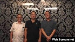 中國山東維權律師祝聖武(中)與北京丁錫魁律師(左)和廣東隋牧青律師。 ( 祝聖武微信圖片)