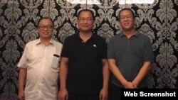 中國山東維權律師祝聖武(中)與北京丁錫魁律師(左)和廣東隋牧青律師 (祝聖武微信圖片)