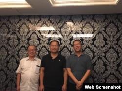 中国山东维权律师祝圣武(中)与北京丁锡魁律师(左)和广东隋牧青律师。( 祝圣武微信图片)