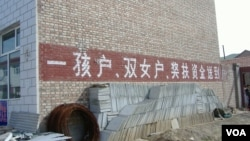 """在中國宣布二胎政策之前,一胎化政策已在逐漸鬆動。圖為河北某農村認可""""雙女戶""""的計生宣傳口號。"""