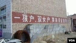 """在中国宣布二胎政策之前,一胎化政策已在逐渐松动。图为河北某农村认可""""双女户""""的计生宣传口号。"""