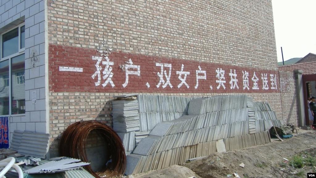 """在中國宣布二胎政策之前,一胎化政策已在逐漸鬆動。 圖為河北某農村鼓勵""""雙女戶""""的計生宣傳口號。"""