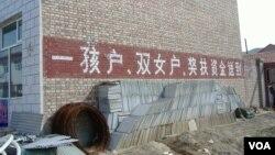 """在中國宣佈二胎政策之前,一胎化政策已在逐漸鬆動。圖為河北某農村認可""""雙女戶""""的計生宣傳口號。"""