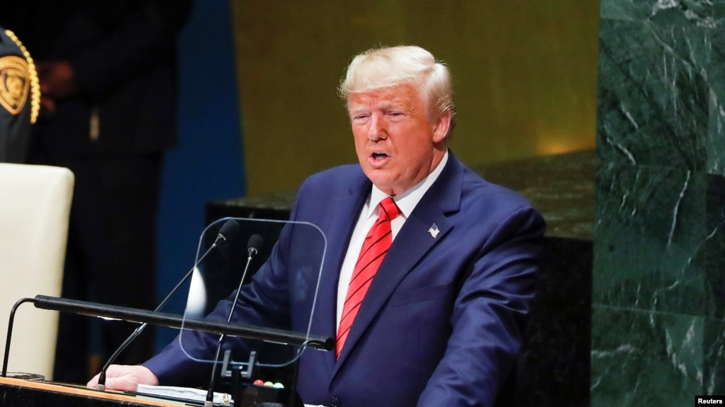 Tổng thống Hoa Kỳ Donald Trump phát biểu lên án CNXH tại Đại hội đồng LHQ ngày 24/09/2019.