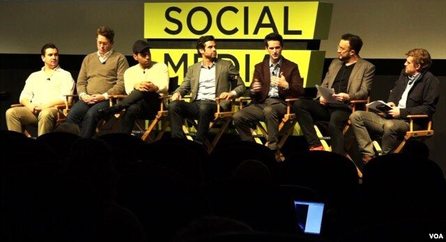 Scott Davison (3rd from the right) of tech startup Jewelbots participates in a panel discussion during Social Media Week in New York City (VOA/R.Taylor).
