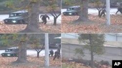 지난 13일 판문점 공동경비구역(JSA)에서 한국으로 망명한 북한군 병사의 긴박했던 탈출 장면을 담은 영상. 북한군 병사가 탄 지프 차량이 배수구에 빠지자 차에서 내려 퍼붓는 총격에도 불구하고 남쪽으로 질주하는 모습이 보인다.