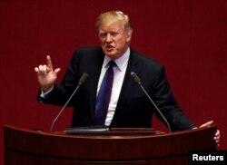 FILE - U.S. President Donald Trump speaks at the South Korean National Assembly in Seoul, South Korea, Nov, 8, 2017.