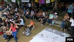Demonstrasi di Taman Gezi, Alun-Alum Taksim, Istanbul di Turki (5/6).