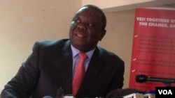 Morgan Tsvangirai addressing journalists in Harare.