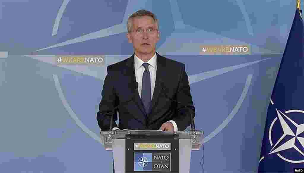 Generalni sekretar NATO-a, Jens Stoltenberg izvestio je da su danas u Savetu Alijanse - Sjedinjene Države, Francuska i Ujedinjeno Kraljevstvo obavestile saveznike o zajedničkoj vojnoj akciji u Siriji 14. aprila. Saopštili su da veliki broj podataka ukazuje na odgovornost sirijskog režima za napad na civile u Dumi 7. aprila, te da su njihove vojne akcije bile ograničene na objekte koji omogućavaju proizvodnju i upotrebu hemijskog oružja. Tri saveznika naglasila su da nije bilo praktične alternative primeni sile.