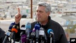 U.N. refugee chief Filippo Grandi speaks to the press during a visit to the Zaatari Syrian Refugee Camp, in Mafraq, Jordan, Feb. 12, 2018.
