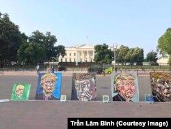 Những bức chân dung Tổng thống Trump của Trần Lâm Bình được trưng bày bên ngoài Nhà Trắng nhân dịp sinh nhật tổng thống Mỹ hồi tháng 6/2017. (Ảnh do họa sỹ cung cấp)