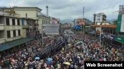 2016年7月3日广东肇庆市民上街抗议垃圾发电项目。(推特图片)