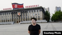 Norwegian Artist/Director Morten Traavik in Pyongyang's Kim Il Sung Square, May 2012. (Courtesy EUP-Berlin)