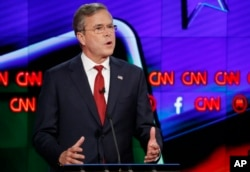 Jeb Bush speaks during the CNN Republican presidential debate at the Venetian Hotel & Casino on Tuesday, Dec. 15, 2015.