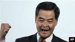 梁振英在小圈子选举中当选香港行政长官时的(资料照片)