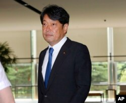 Japan's new Defense Minister Itsunori Onodera arrives at the prime minister's official residence in Tokyo, Aug. 3, 2017.