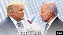 Shugaba Donald Trump, hagu da Joe Biden, dama