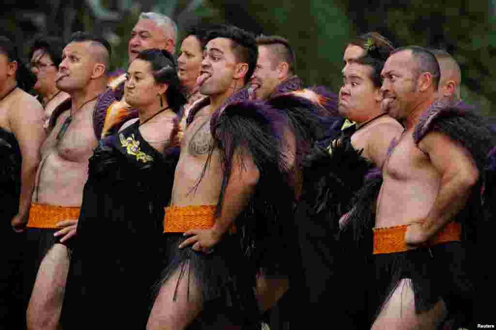Maori warriors are seen during a welcome ceremony for Britain's Prince Harry and Meghan, Duchess of Sussex, at Government House in Wellington, New Zealand.