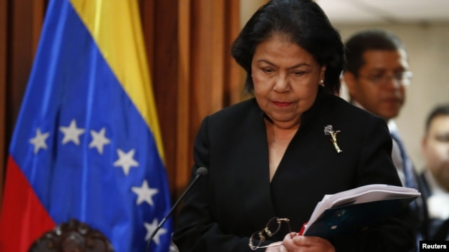 Luisa Estella Morales, President of the Venezuelan Supreme Court of Justice, arrives at a news conference in Caracas, January 9, 2013.