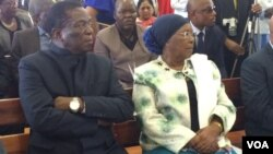Vice President Emmerson Mnangagwa and Bulawayo Metropolitan Minister Eunice Nomthandazo Sandi Moyo
