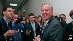 "Le Républicain Mark Meadows, élu de Caroline du Nord et chef de file du ""Freedom Caucus"", à Capitol Hill à Washington, le 23 mars 2017."