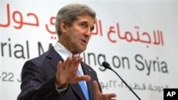 """克里國務卿星期六在""""敘利亞之友""""會議上發言"""